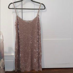 Zara champagne velvet dress